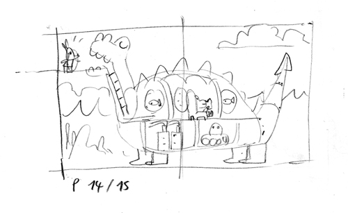 Croquis Polo et le dinosaure mécanique